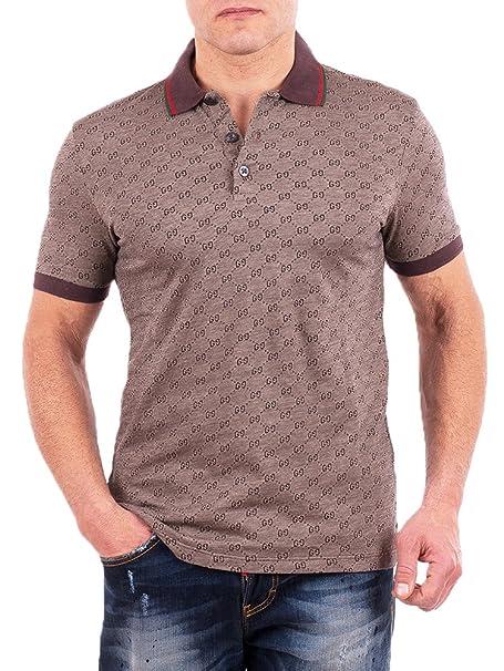 71ecc0a08 Amazon.com: Gucci Polo Shirt, Mens Brown Short Sleeve Polo T- Shirt GG  Print: Sports & Outdoors