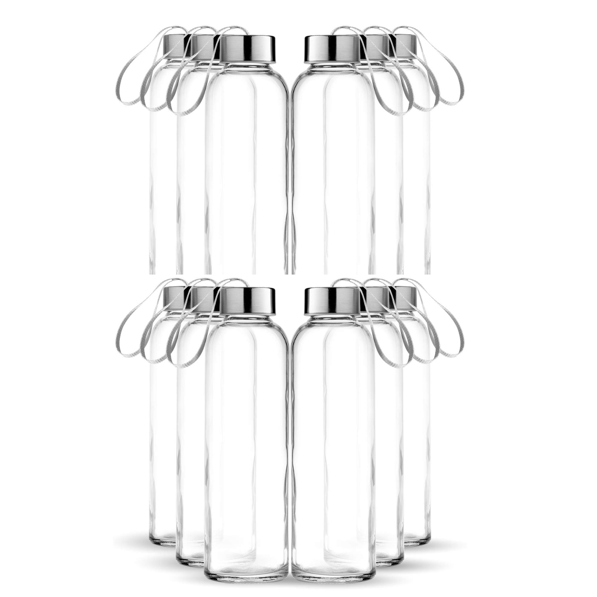 Chef's Star Glass Water Bottle 12 Pack 18oz Bottles for Beverages and Juicer Use Stainless Steel Leak Proof Caps with Carrying Loop - Including 12 Black Nylon Protection Sleeve