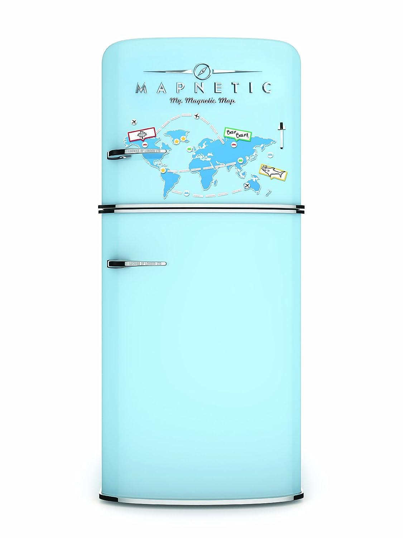 K/ühlschrankmagnet Magnetische Weltkarte mit Trockenwischset Luckies of London Magnetkarte