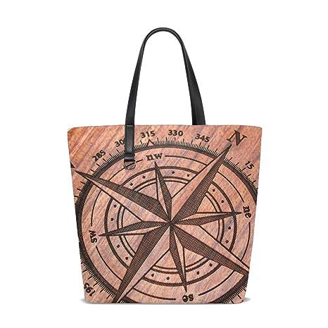 Amazon.com   Natural Wooden Compass Tote Bag Purse Handbag ...