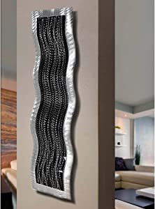 Statements2000 Black & Silver Modern Abstract Painting Metal Wall Art Sculpture - Home Décor, Contemporary Design, Home Accent - Chaotic 1 by Jon Allen - 31