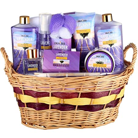Lavender Deluxe Complete Spa at Home Experience 10 Piece Gift Basket for Women by Draizee 1 Best Gift – Skin Care Set with Lotions, Creams, Bath Bombs More