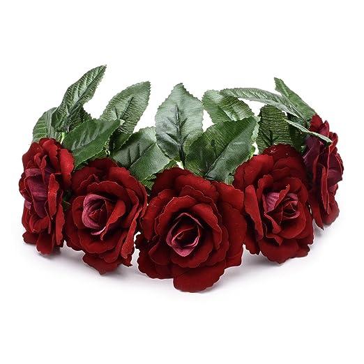 Floral Fall Dark Red Velvet Rose Flower Crown Festival Photo Shoots  Woodland Hair wreaths HD- 3118dcbefbc