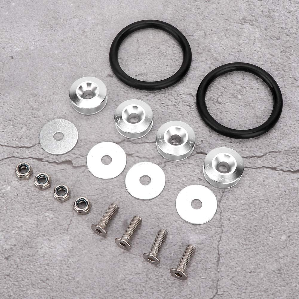 Qii lu Quick Release Fasteners,Aluminum alloy Quick Release Fasteners Rubber Rings Kit For Car Bumper Trunk Mud Guard Lid Silver