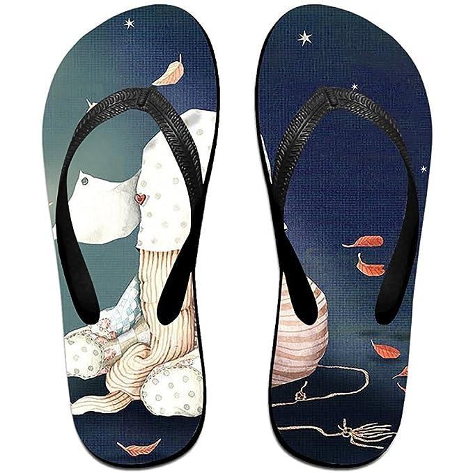 Unisex Summer Beach Slippers Heart Flip-Flop Flat Home Thong Sandal Shoes