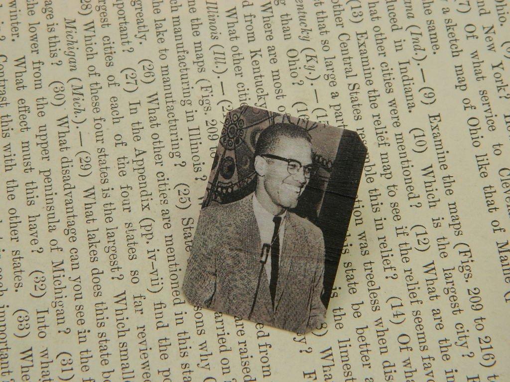 Malcolm X brooch Black History Month lapel pin