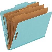 "Pendaflex Pressboard Classification File Folders, 3 Dividers, 2"" Embedded Fasteners, 2/5 Tab Cut, Letter Size, Light Blue, Box of 10 (24094)"