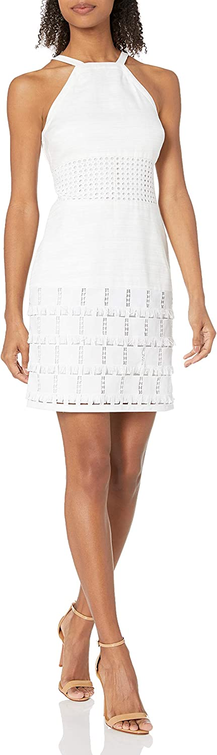 Laundry by Shelli Segal Women's Linen Halter with Faux Leather Blocking