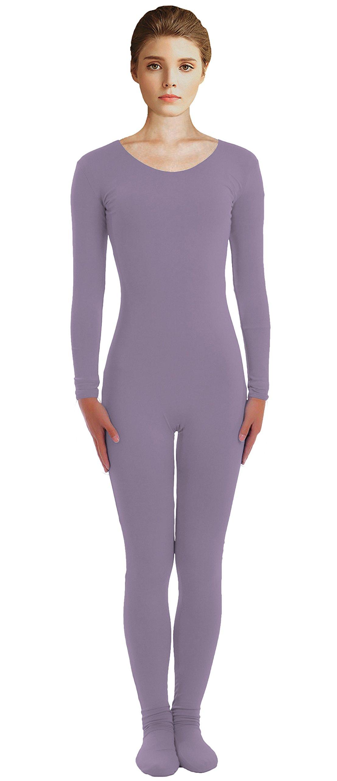 VSVO Adult Dark Grey Scoop Neckline Unitard with Socks Catsuit Dancewear (XX-Large, Dark Grey) by VSVO