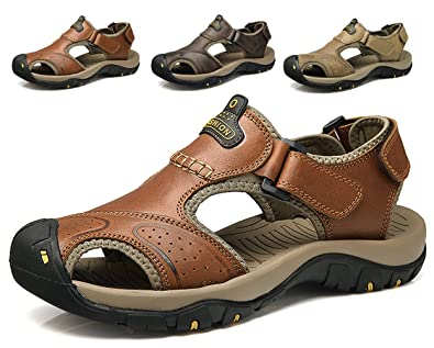 eb362274349 Athletic Slides Sandals Sports Men Breathable Leather Outdoor Leisure  Non-Slip Beach Shoes Slippers Hiking