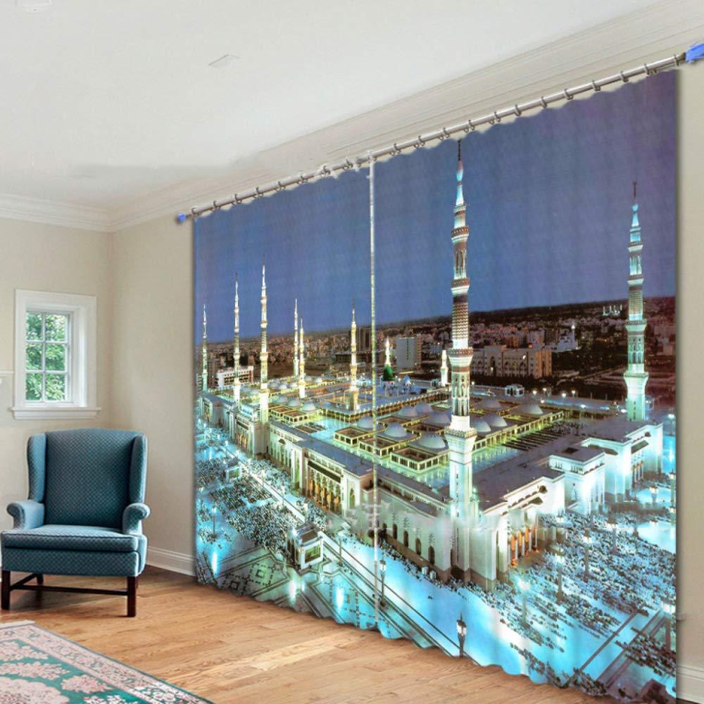 SHASHA Vorhänge 3D 2 Panel Eyelet Ring Top Anti-UV Thermal schwarzout Print Persönlichkeit Vorhänge, Einschließlich Haken Und Premium Roman Ringe - Mekka-Moschee,W264cmH213cm