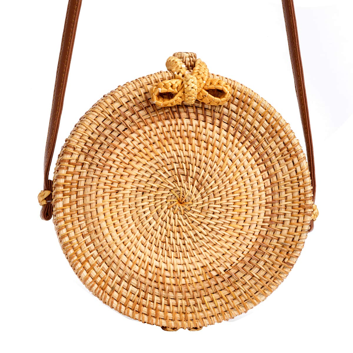 Round Rattan Bag for Women Lefur Handwoven Straw Bag Beach Crossbody Purse with Shoulder Straps Lined Handbag