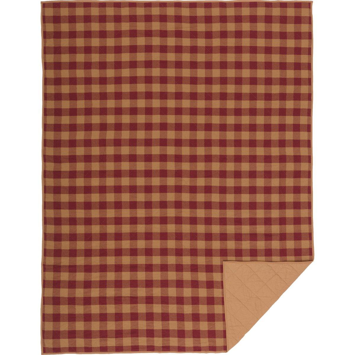 VHC Brands Primitive Bedding Check キルトカバー ツイン バーガンディ B07FK9L6S5