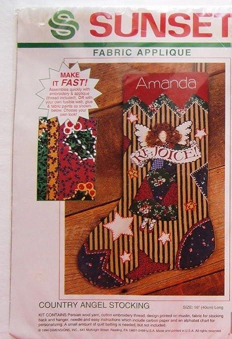 Amazon Country Angel Fabric Applique Christmas Stocking Kit 18041