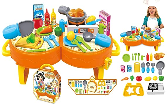 Toys Bhoomi 31 Pieces Junior Master Chef's Fold & Carry Along Dining Table Cooking Kids Kitchen Suitcase Activity Centres Playset for Boys and Girls