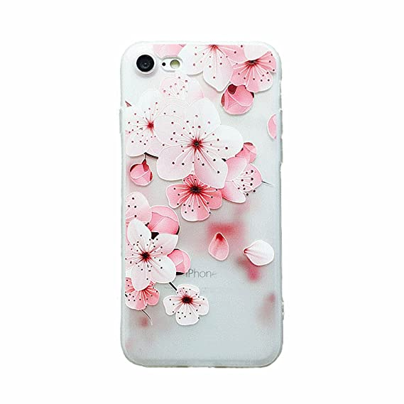 size 40 3811f f03fe iPhone 6/6S Cherry Blossom Case,LuoMing 3D Emboss Beautiful Flower Pattern  Slim fit Shock-Absorbing Soft Rubber Clear TPU Skin Cover Case for iPhone  ...