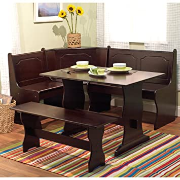 breakfast kitchen nook corner bench booth dining set 3 piece table linon chelsea target marketing systems di