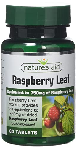 Natures Aid Raspberry Leaf 60 Tablets (Botanical Supplement, High Potency, 375 mg Raspberry Leaf Extract, Equivalent to 1500 mg Dried Raspberry Leaf, Vegan Society Approved, Made in the UK)