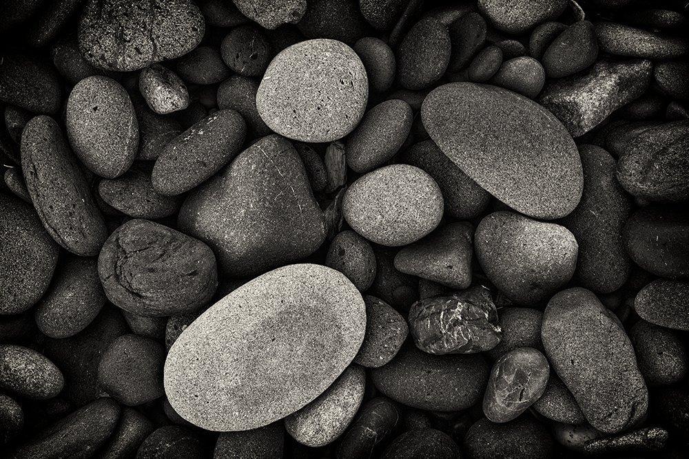 Fine Art Photography, Black and White, Pacific Northwest, Olympic Peninsula, Ruby Beach, Washington Coast, Pacific, Nature, Landscape, Monochrome, Solitude, Beach, Stones, Rocks, Low Tide, Zen
