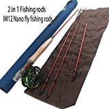"""Z Aventik 2in1 Fishing rods IM12 Nano fly fishing rods Fast Action with Extra Extension Section rods 9'2'' LW3/4 4pc into 10'6"""" LW3/4 9' 5/6 4pc into 10'4"""" LW5/6 Trout & Nymph fishing rod"""