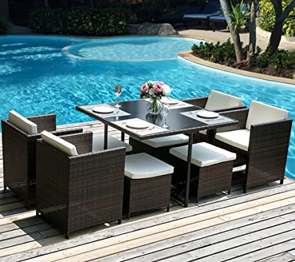 Amazon Com Merax 9 Piece Outdoor Pe Rattan Wicker Patio Dining