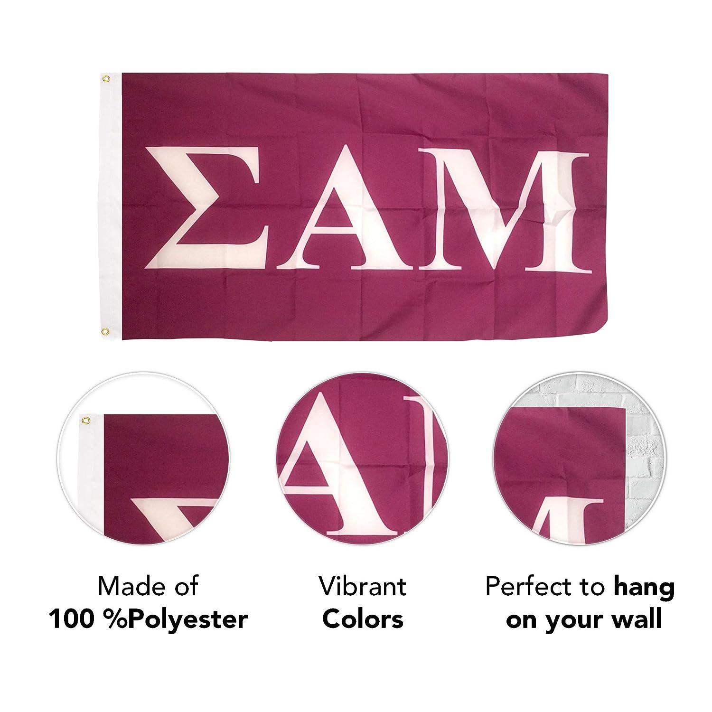 Sigma Alpha Mu Letter Fraternity Flag Greek Letter Use as a Banner Large 3 x 5 Feet Sign Decor Sammy