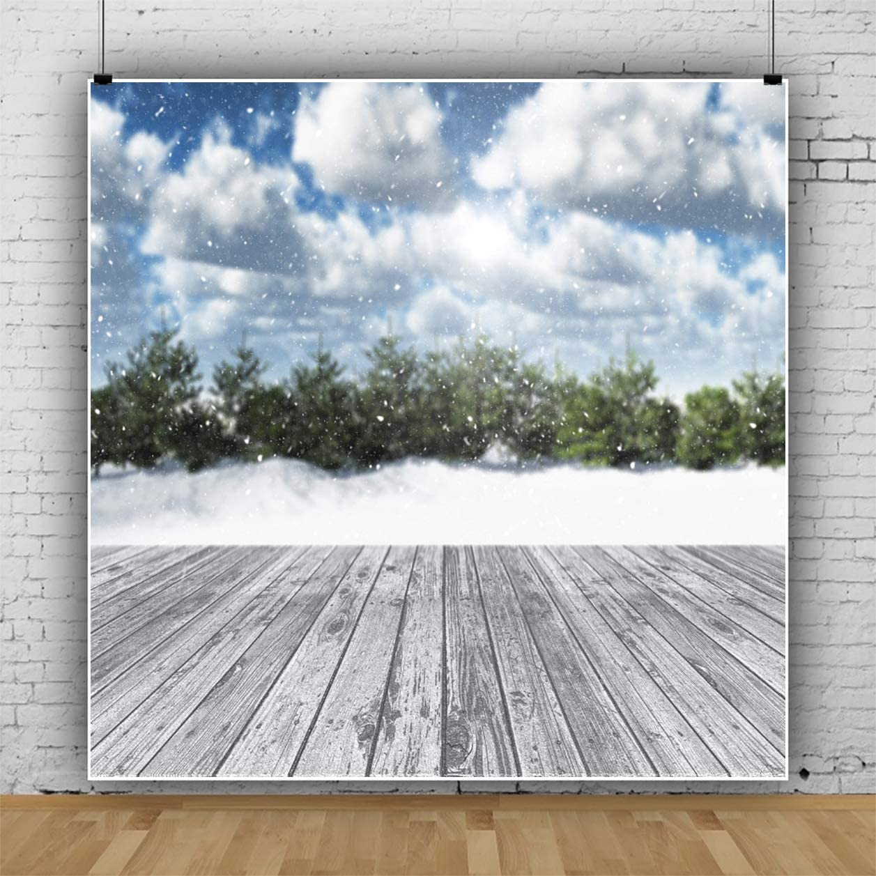 AOFOTO 5X5FT Winter Outdoor Snowing Forest Backdrop White Coulds Snow Xmas Party Decoration Wooden Floor Photography Background Blur Christmas Snowfield Fir Trees Photo Studio Props Poster Vinyl