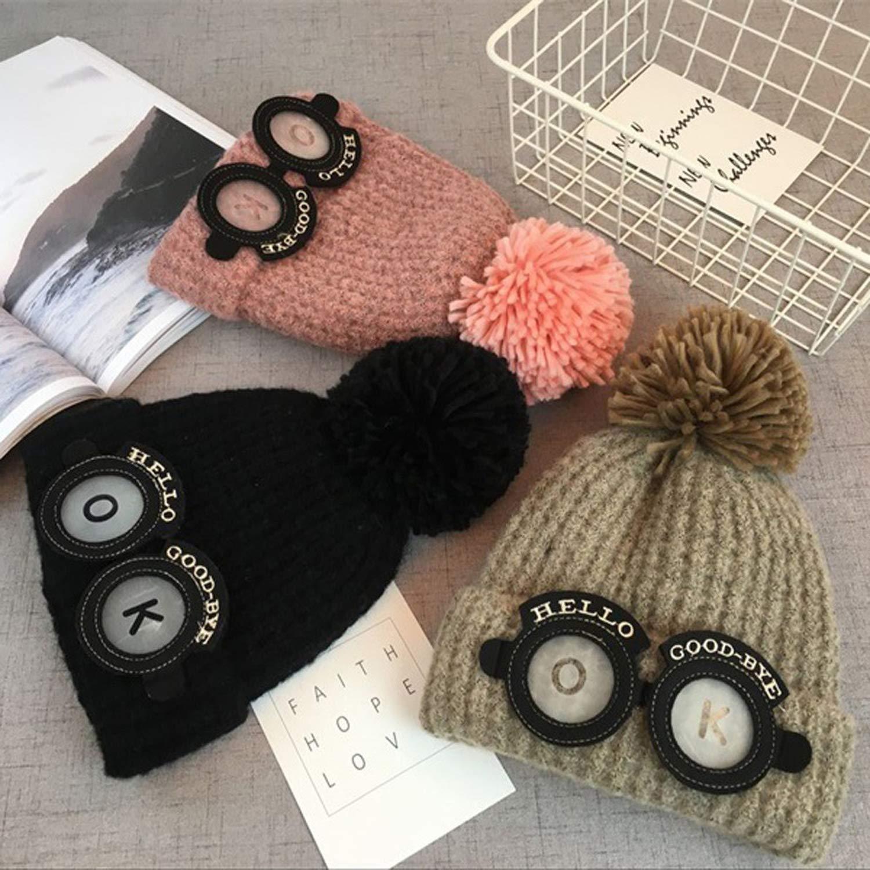 Cute Baby Kids Girl Boy Cartoon Big Ball Warm Winter Knitted Cap Hat Beanie Knit Cap Beard Bonnet Baby hat
