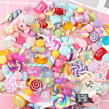 SAKUROO 30Pcs DIY Crystal Slime Supplies Accesorios Caja del teléfono Decoración para Slime Filler Miniatura Resina Pastel Flores Candy Chocolate: Amazon.es: Juguetes y juegos