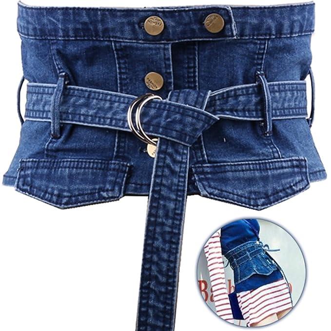 Amazon.com: wingoffly Mujer Denim cintura cinturón ...