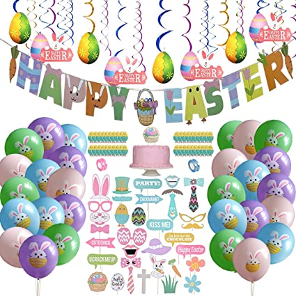 Amazon Com 121pcs Easter Party Decorations Set Easter Decorations For The Home Easter Bunny Decorations Happy Easter Banner Easter Photo Booth Props Happy Easter Banner Easter Rabbit Balloon Much More Toys