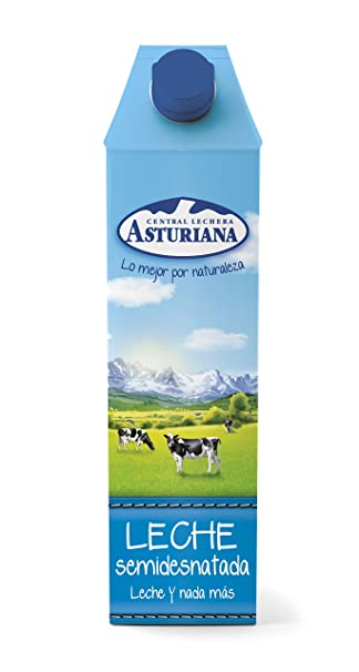 Central Lechera Asturiana - Leche UHT Semidesnatada 1000 ml - Pack de 6 (Total 6000