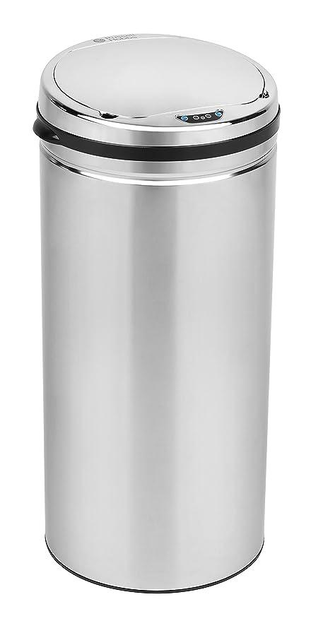 Russell Hobbs Cubo de Basura (BW04825), diseño Redondo de 40 L con Sensor, Acero Inoxidable plástico, Cromado, 30.5 x 30.5 x 68 cm