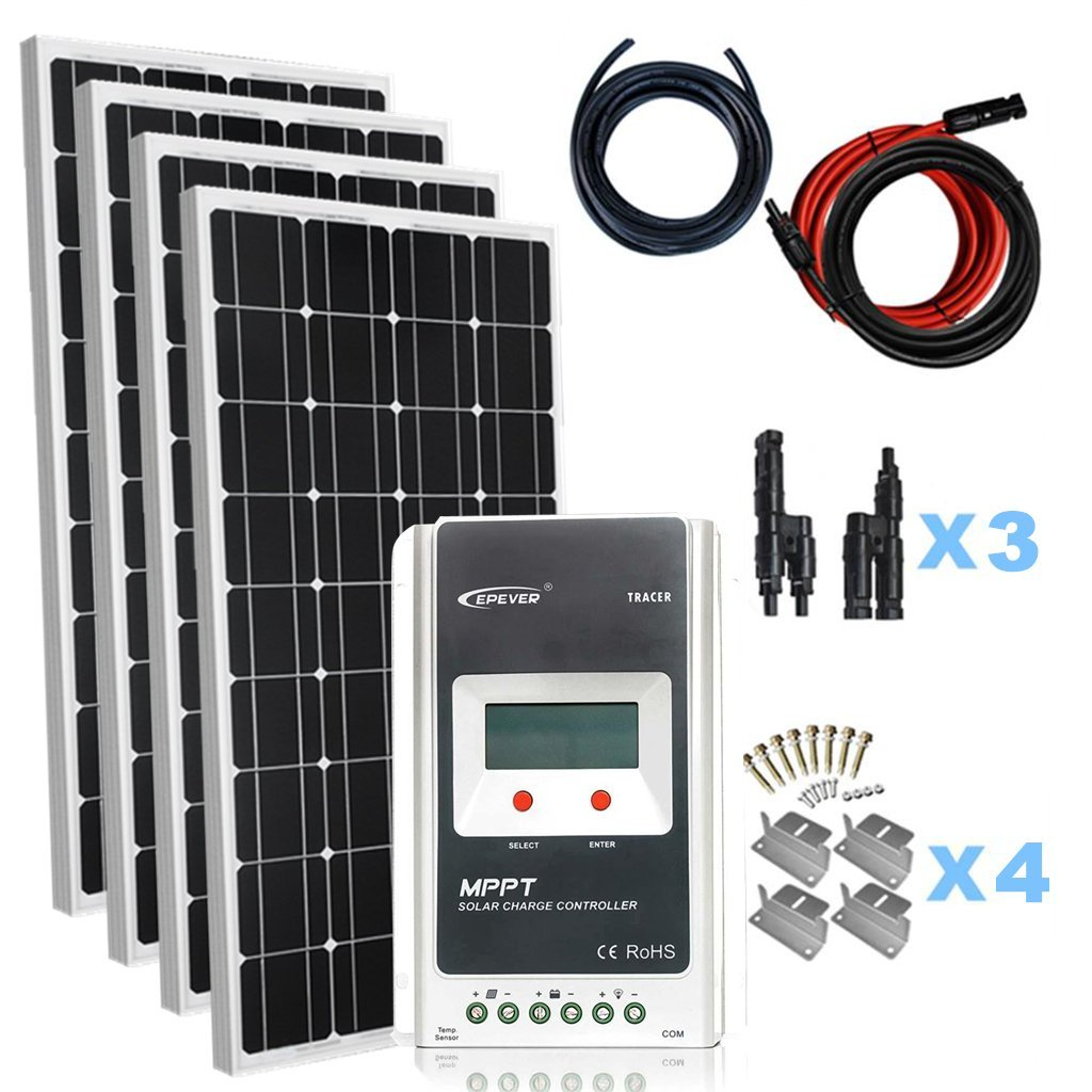 giosolar solaranlage 400 watt 4x100w solaranlage basic starter 12v solar bausatz mit modul. Black Bedroom Furniture Sets. Home Design Ideas