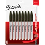 Sharpie Permanent Markers, Fine Tip, Black, 8 Pack
