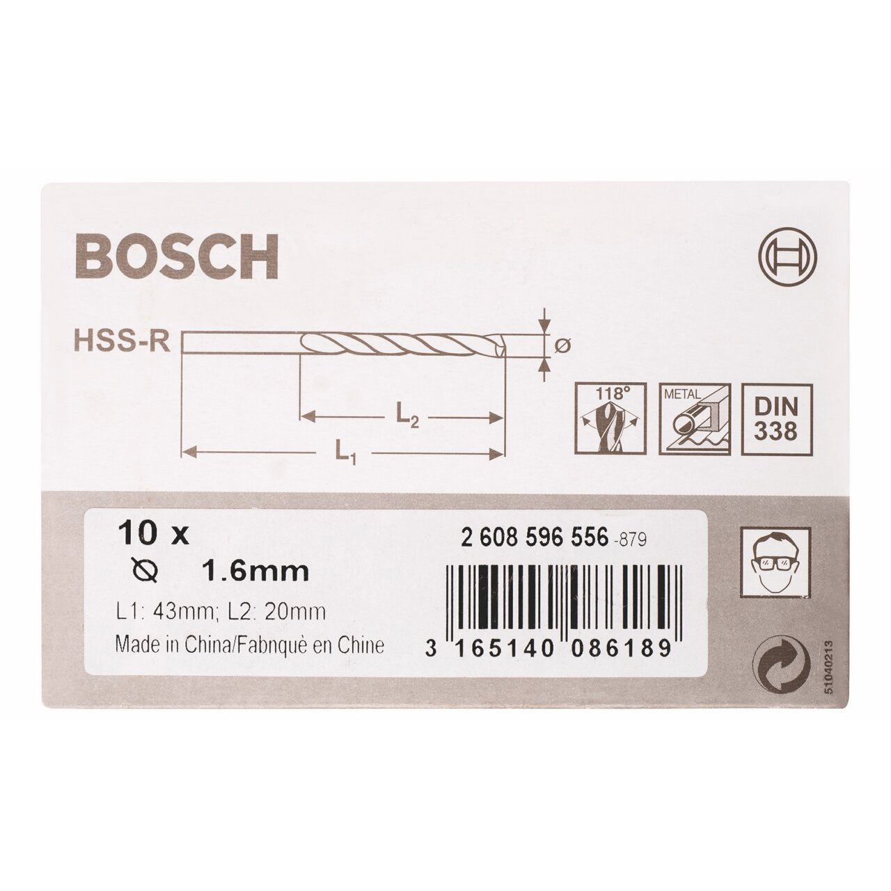 1.6 Bosch 2608596556 Forets /à m/étal HSS-R 10 Pi/èces Noir