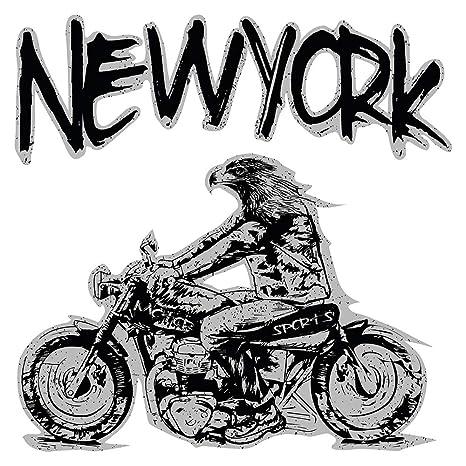 Pegatina de pared Salón USA Ruta Motociclista con cabeza de águila America para pegar neoyorquino paisaje