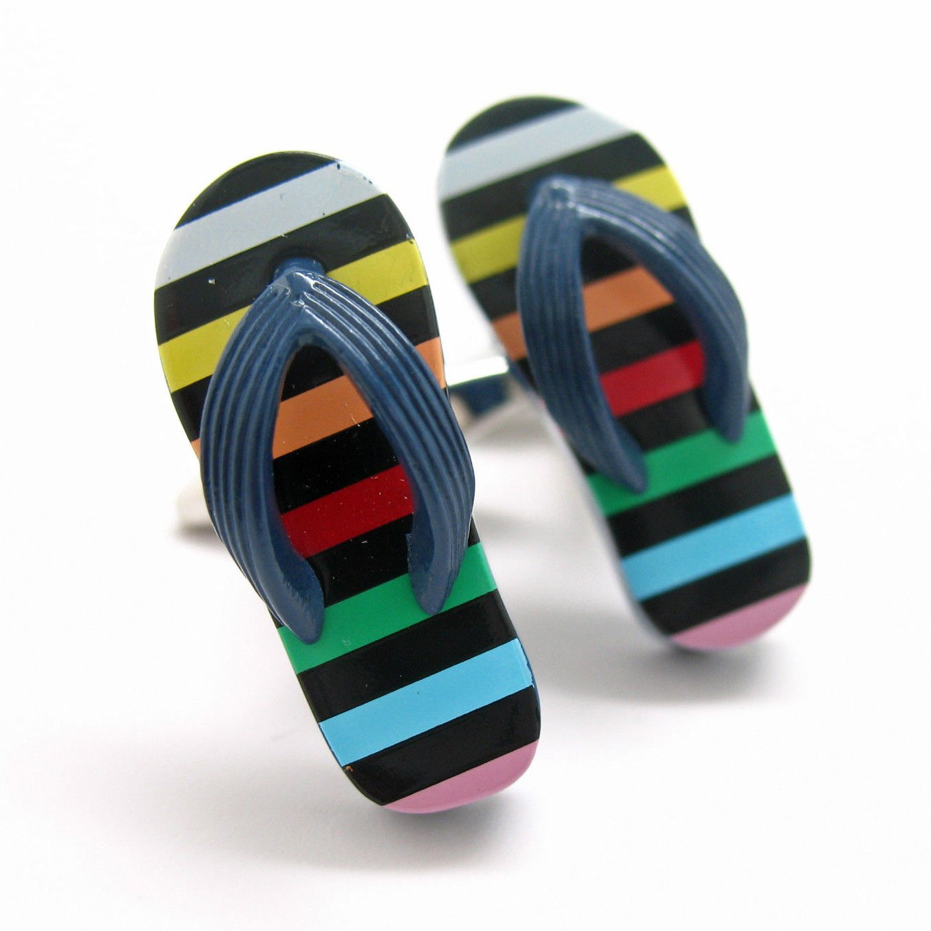 Multi Colored Stripped Summer Fun Flip Flop Shoe Cufflinks B1321