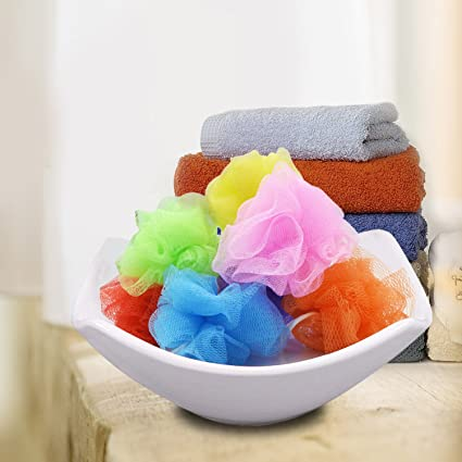 Amazon Mesh Pouf Bath Sponge With Loop Tiny 4040 Home Shower Simple Mini Loofah Poufs