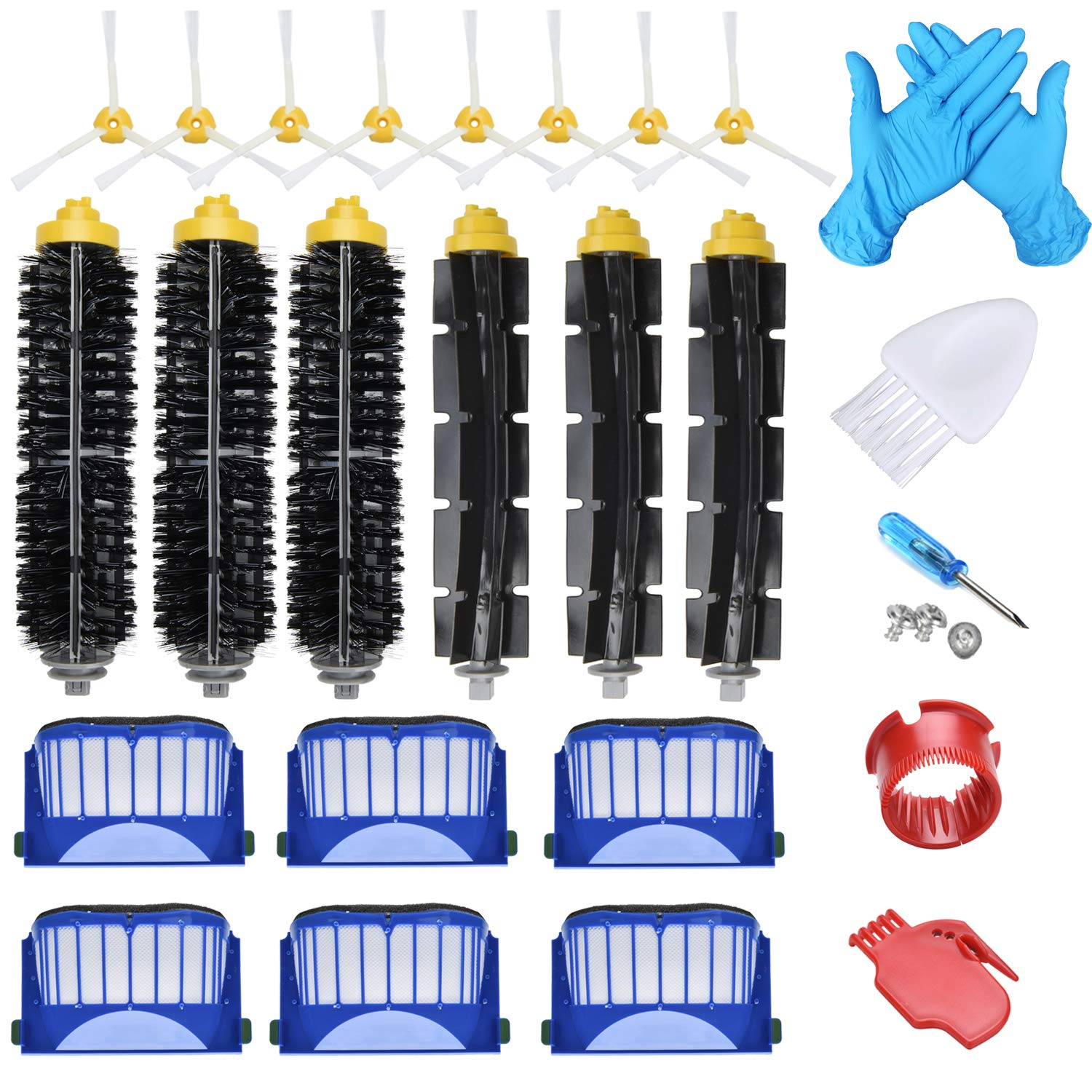 Joybros 22-Pack Replacement Parts Compatible for iRobot Roomba Accessories 600 Series:690 670 671 680 650 630 614 595 585 Filter Side Roller Brush Vacuum Cleaner Replenishment Kit by Joybros