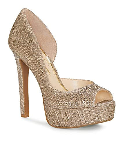 473fbf837eb Jessica Simpson Martella Gold Glitter Platform D Orsay Detail Peep-Toe Pumps  (8.5