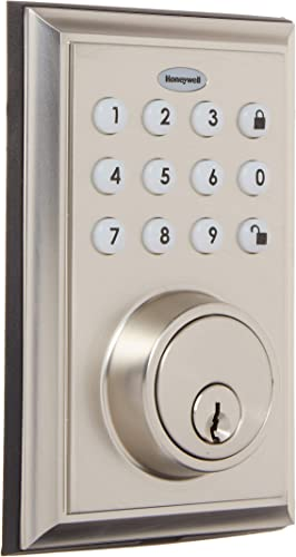 Honeywell 8812309S 1 BLE Electronic Entry Deadbolt with Keypad, Square Faceplate, Satin Nickel
