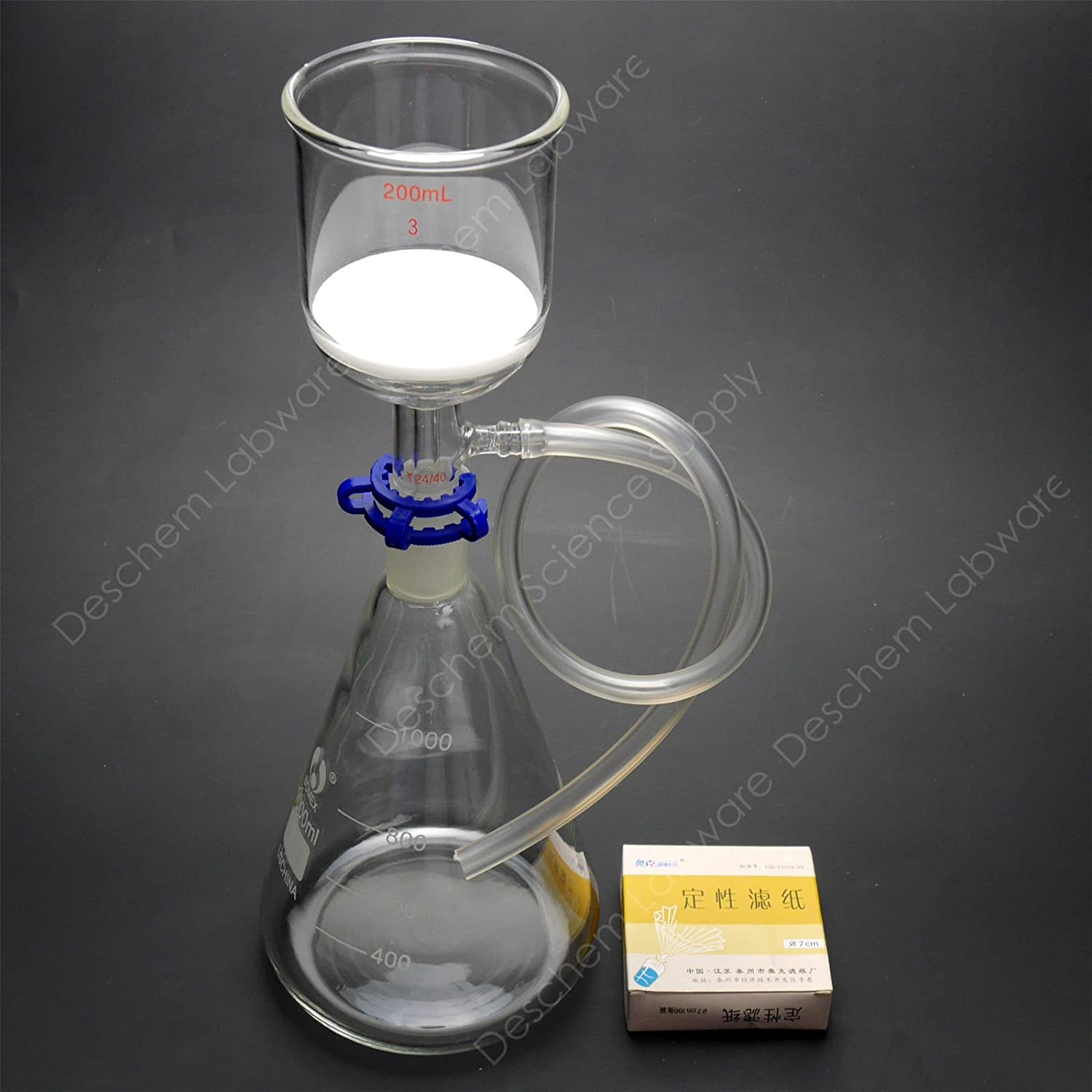 Deschem 1000ml,Suction Filtration Kit,200ml Buchner Funnel,1L Flask,W/70mm Filter Paper