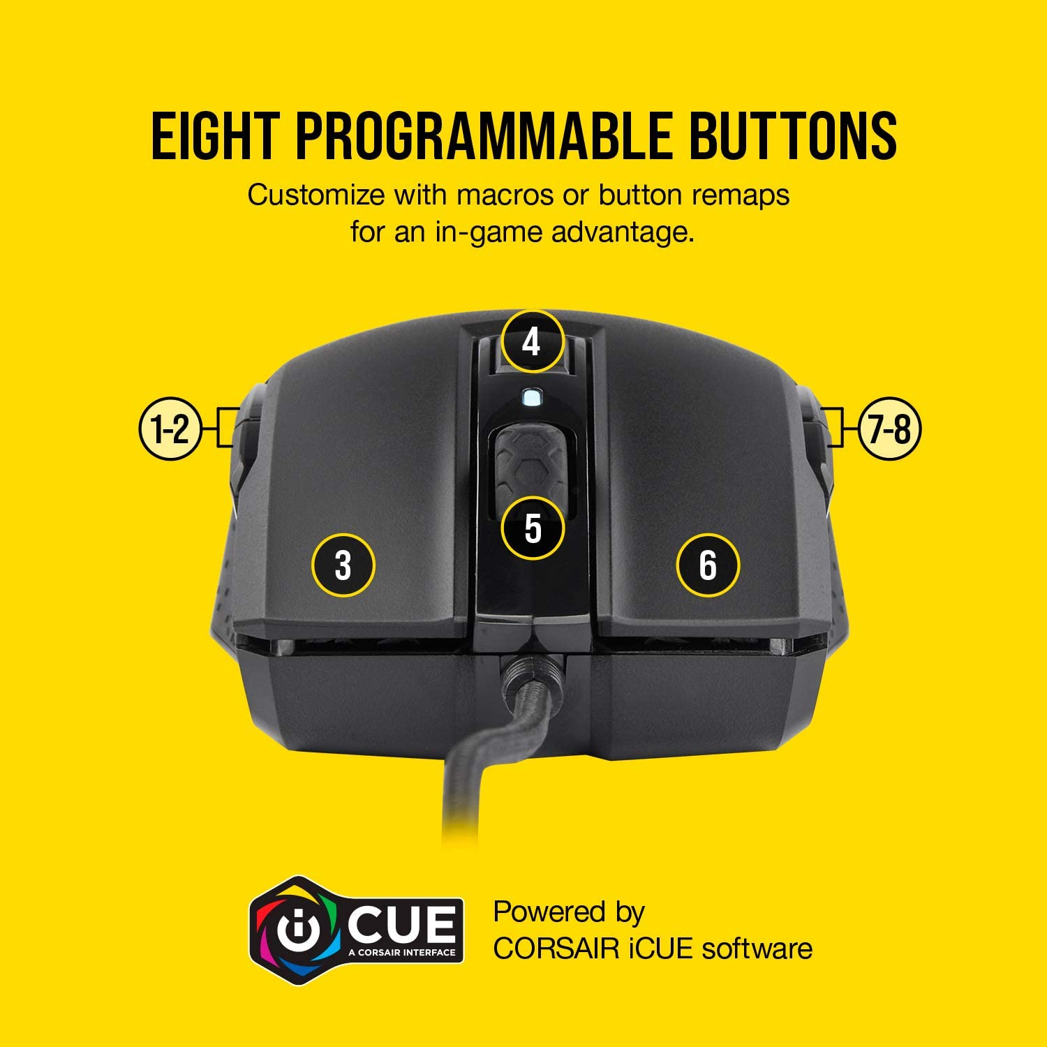 CORSAIR M55 RGB Pro Ambidextrous Gaming Mouse eight programmable buttons