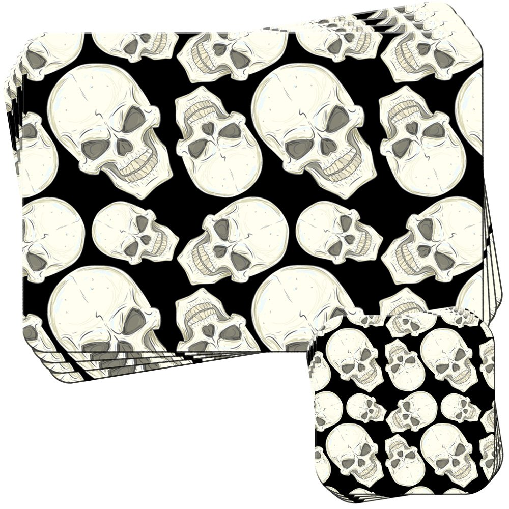 Fancy A Snuggle Floating Skull Cross Bones /& Flowers Set of 4 Placemats and Coasters