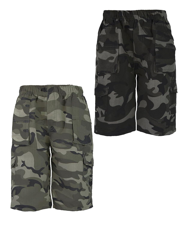 LOTMART Kids Camouflage Multipocket Shorts Bundle Pack of 2 Colours