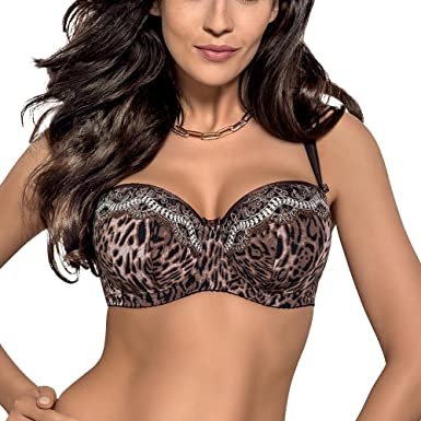 b8619b6533 Gorsenia K225 Elsa stylish animal print balconette padded bra  Gorsenia   Amazon.co.uk  Clothing