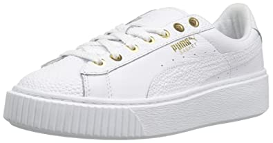 new product 19501 be79e PUMA Women's Basket Platform Pearlized Wn's Fashion Sneaker