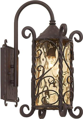 Casa Seville Rustic Outdoor Wall Light Fixture Mediterranean Inspired Dark Walnut Iron Twists 18 1 2 Champagne Hammered Glass for Exterior House Porch Patio Deck – John Timberland