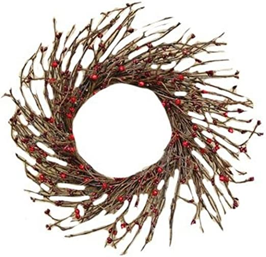 "Primitive Country Burgundy Pip Twig 16/"" Wreath"